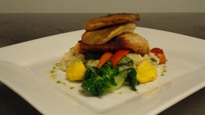 Pan Seared Arctic Char with Summer Legumes and Mushroom Risotto By Honore G.