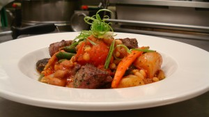 Four Beans Ragout with Marinated Charcoal Grilled Lamb Sirloin