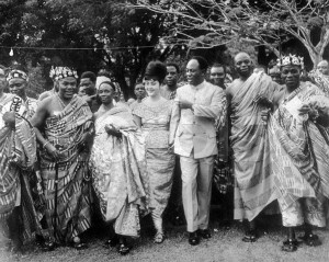 Ghana First President Dr Kwame Nkrumah and wife with Chieftains