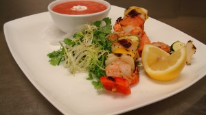 Organic Summer  Melon Soup With Brochette Fruit de Mare by Chef Honore Gbedze
