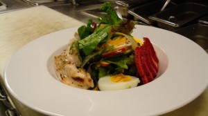 Honore's Organic Mixed Spring Green Salad with Spiced Chicken Breast.