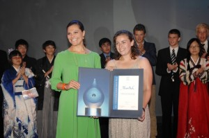 Alison Bick, US, received the 2011 Stockholm Junior Water Prize from the hands of H.R.H. Crown Princess Victoria of Sweden photo by Cecilia Österberg