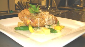 Chiken Cordon Bleu Roasted Garlic white wine sauce by Chef Honore Gbedze